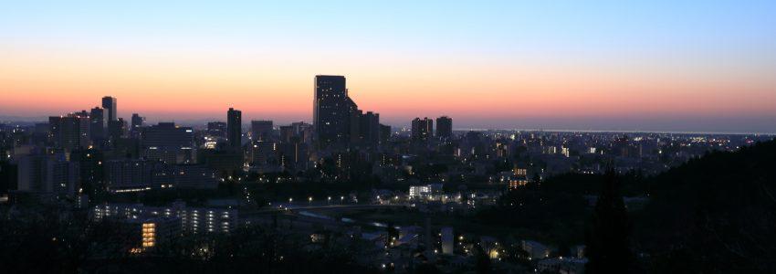 仙台の夜明けの風景